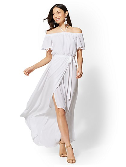 Petite Pom-Pom Trim Off-The-Shoulder Maxi Dress - New York & Company