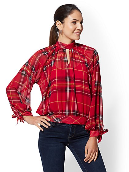 Petite Red Plaid Mock-Neck Blouse - New York & Company