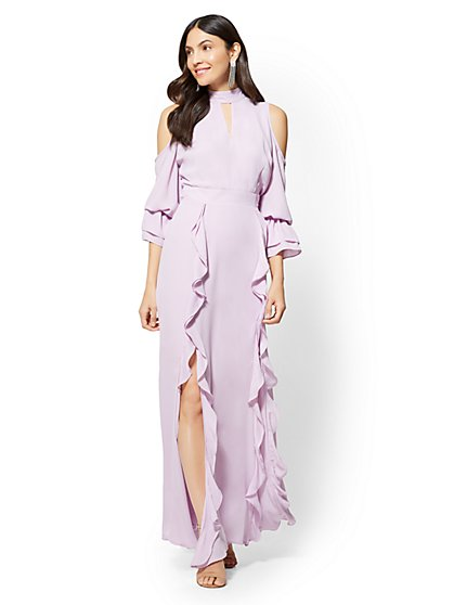 Petite Ruffled Cold-Shoulder Maxi Dress - New York & Company