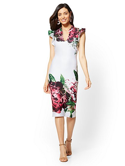 Petite Ruffled-Sleeve Floral Sheath Dress - New York & Company
