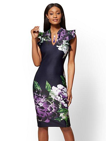 Petite Ruffled-Sleeve Floral Sheath Dress - New York & Company
