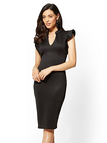 Petite Ruffled-Sleeve Sheath Dress - New York & Company