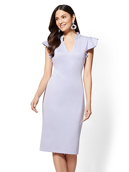 Petite Ruffled-Sleeve Sheath Dress - New York & Company