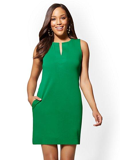 Petite Split-Neck Cotton Shift Dress - New York & Company