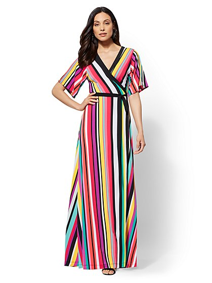 Petite Stripe V-Neck Wrap Maxi Dress - New York & Company