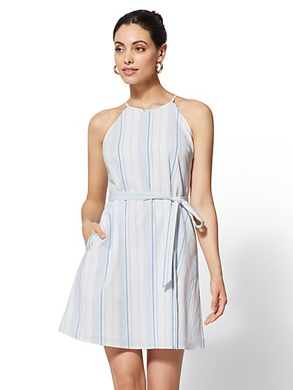 Petite Striped Halter Shift Dress - New York & Company