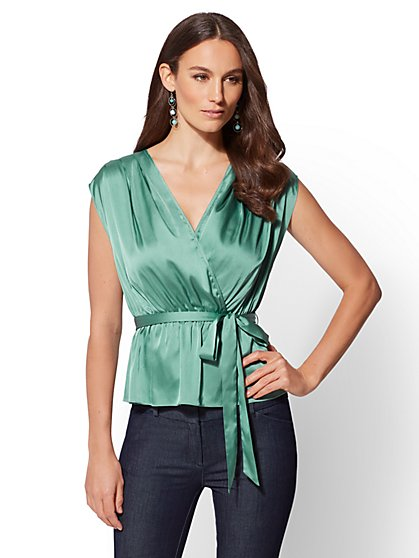 Petite Tie-Front Wrap Blouse - New York & Company