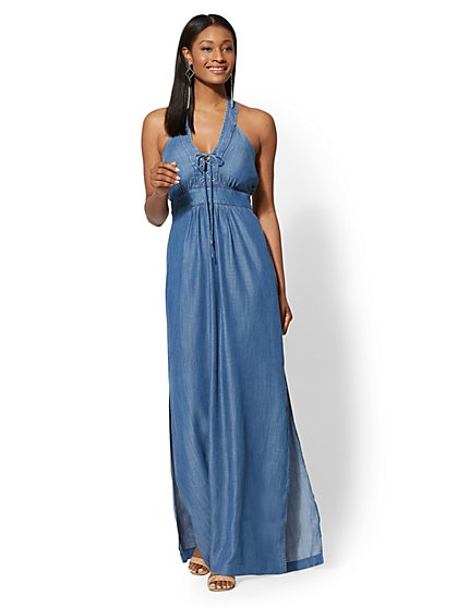 Petite Ultra-Soft Chambray Lace-Up Halter Maxi Dress - New York & Company