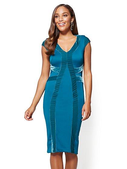 Petite Velvet-Stripe Sheath Dress - New York & Company