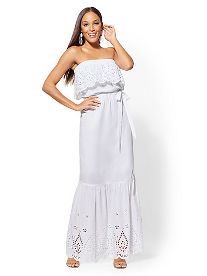 Petite White Eyelet Maxi Dress - New York & Company