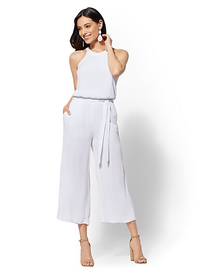 Petite White Halter Jumpsuit - New York & Company