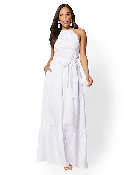 Petite White Halter Maxi Dress - New York & Company