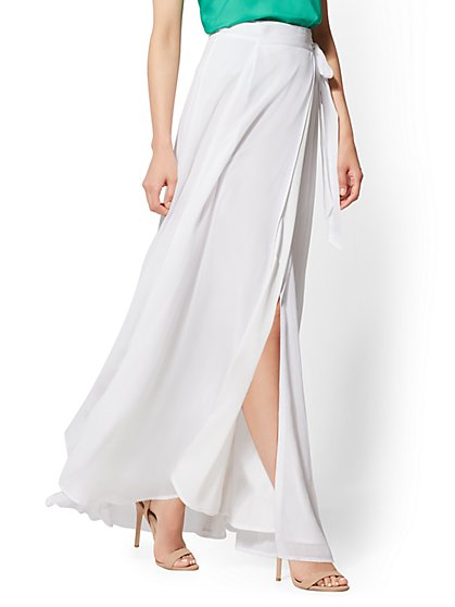 Petite White Wrap Maxi skirt - New York & Company