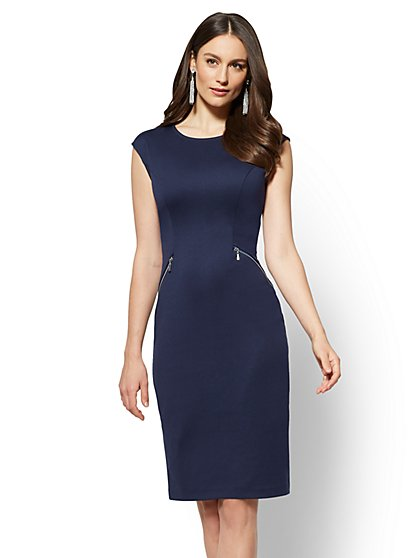 Petite Zip-Accent Ponte Sheath Dress - New York & Company