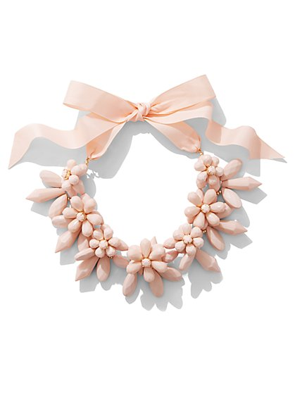 Pink Beaded Statement Necklace - New York & Company