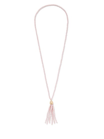 Pink Beaded Tassel Necklace - New York & Company