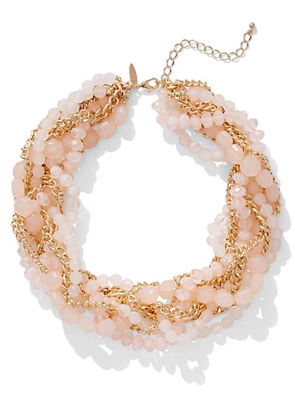 Pink Beaded Torsade Necklace - New York & Company