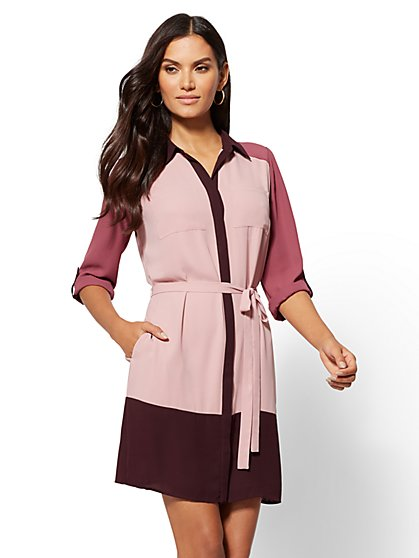 Pink Colorblock Shirtdress - New York & Company