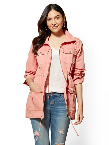 Pink Drawstring-Tie Anorak Jacket - New York & Company
