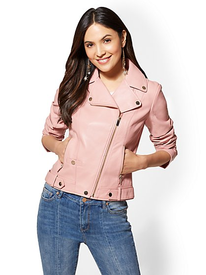 Pink Faux-Leather Moto Jacket - New York & Company