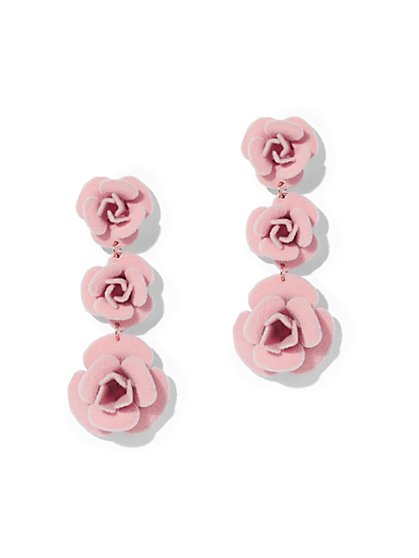 Pink Floral Drop Earring - New York & Company