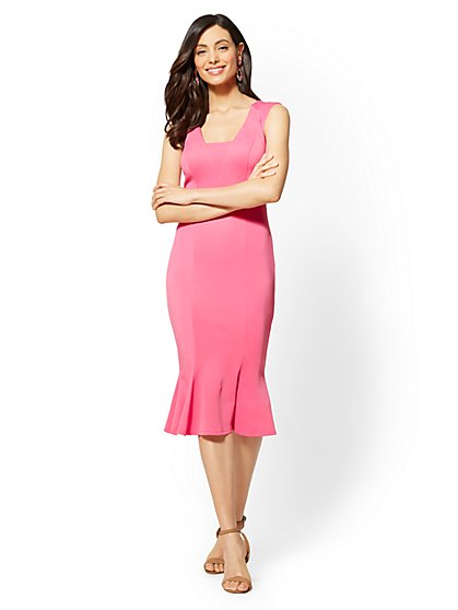Pink Flounced-Hem Sheath Dress - New York & Company