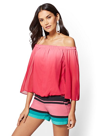 Pink Ombre Off-The-Shoulder Blouse - New York & Company