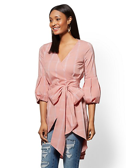 Pink Plaid Wrap Tunic Shirt - New York & Company