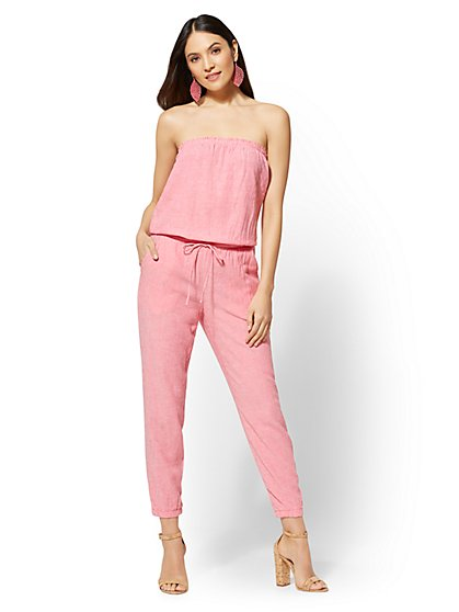 Pink Strapless Linen Jumpsuit - New York & Company