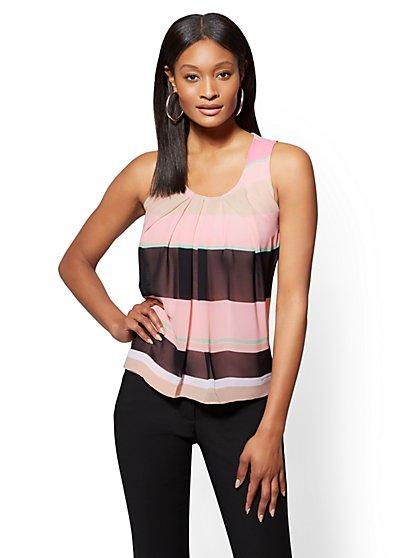Pink Stripe Pleated Chiffon Overlay Shell - New York & Company