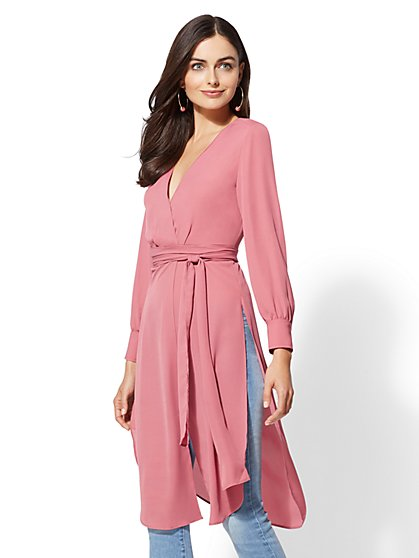 Pink Tie-Waist Maxi Blouse - New York & Company