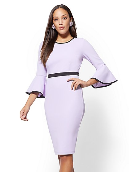 Piped Bell-Sleeve Sheath Dress - New York & Company