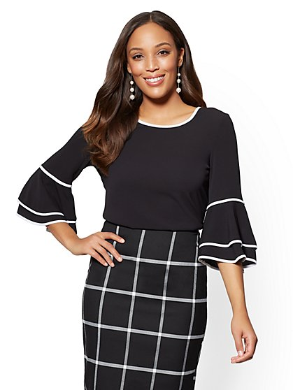 Piped Bell-Sleeve Top - New York & Company