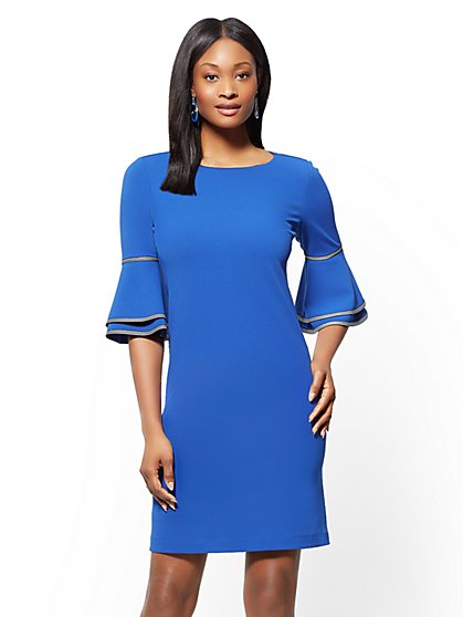 Piped Tiered-Sleeve Sheath Dress - New York & Company