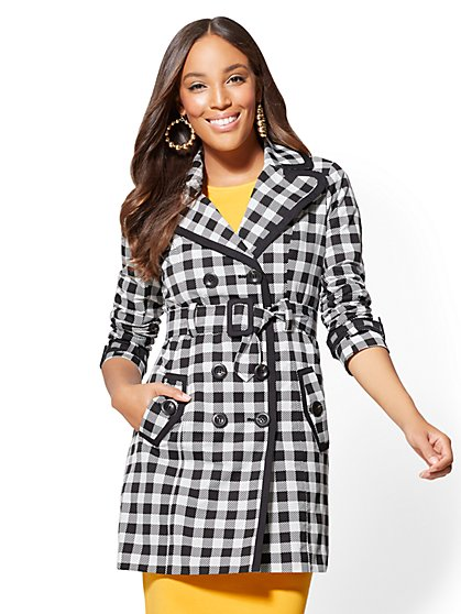 Piped Trench Coat - Black & White Gingham - New York & Company