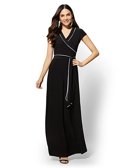 Piped V-Neck Maxi Dress - New York & Company