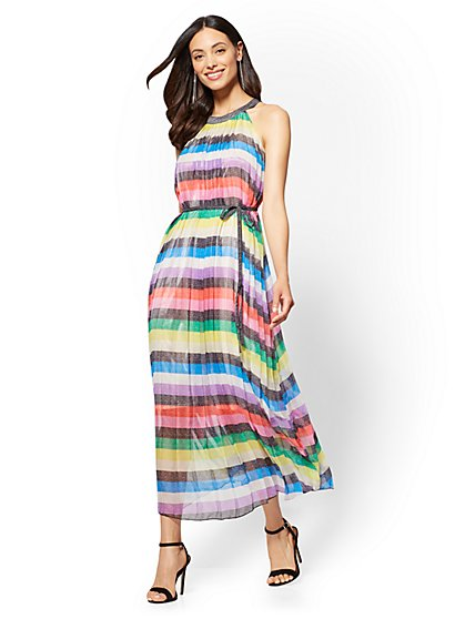 Pleated Striped Halter Maxi Dress - New York & Company