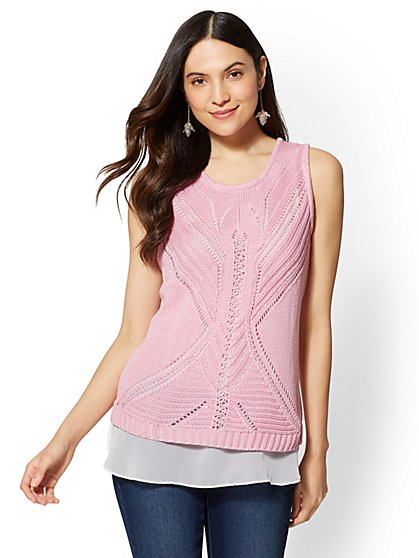 Pointelle-Knit Twofer Sweater Top - New York & Company