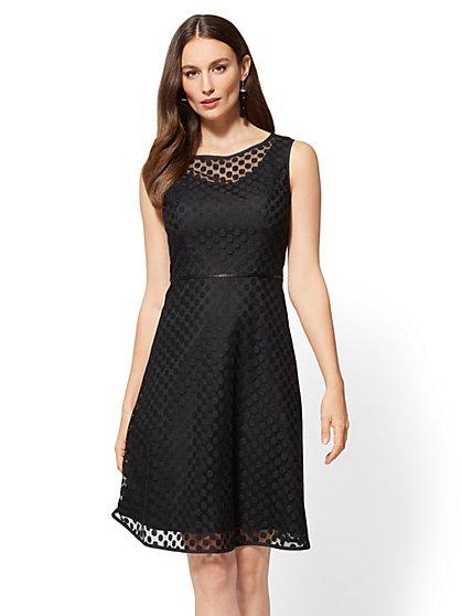 Polka-Dot Lace Overlay Flare Dress - New York & Company