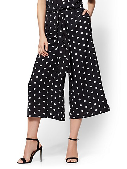 Polka-Dot Pull-On Culotte Pant - New York & Company