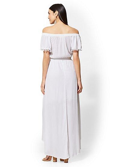 e9b3540473d5 ... Pom-Pom Trim Off-The-Shoulder Maxi Dress - New York   Company ...