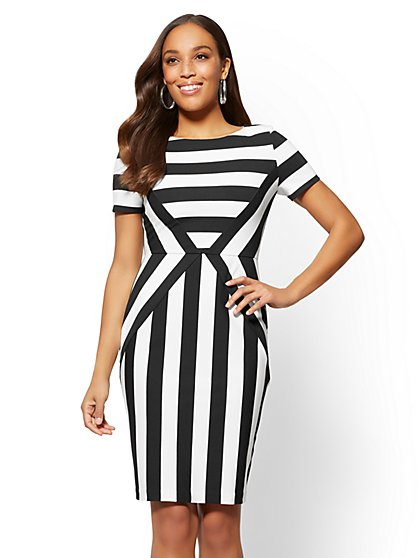 Ponte Sheath Dress - Black & White Stripe - New York & Company