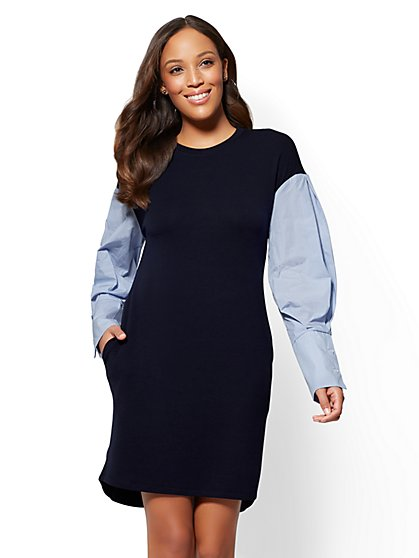 Poplin-Sleeve Twofer Shift Dress - Navy - New York & Company