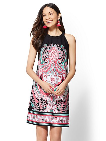 Print Halter Cotton Shift Dress - New York & Company