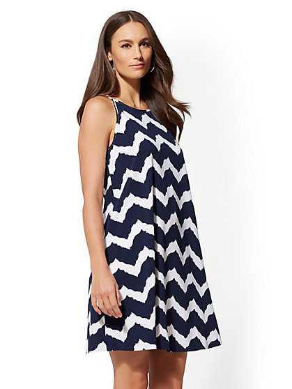 Print Halter Trapeze Dress - New York & Company