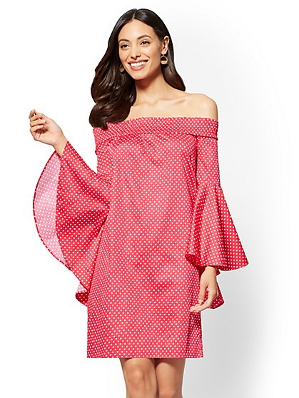 Printed Off-The-Shoulder Bell-Sleeve Shift Dress - New York & Company