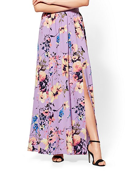 Purple Floral Maxi Skirt - New York & Company