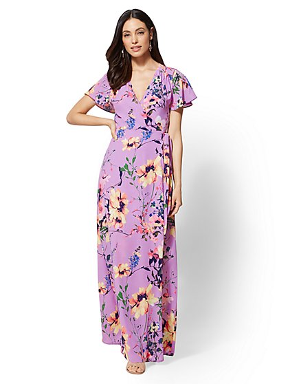 Purple Floral Wrap Maxi Dress - New York & Company