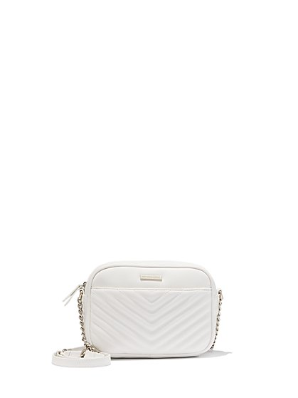 Quilted Chevron Faux-Leather Crossbody Bag - New York & Company