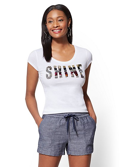 "Rainbow Sequin ""Shine"" Graphic Logo Tee - New York & Company"